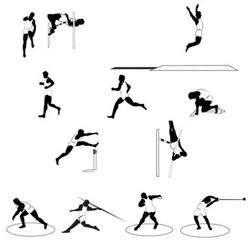 Set of athletic silhouettes - track and field