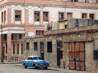 Türaufkleber Autos aus Kuba Blue car Havana