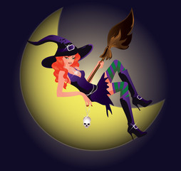 Beautiful Witch and moon. vector illustration