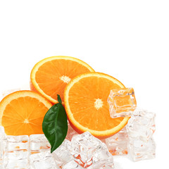 Foto op Canvas In het ijs Orange and ice cubes food background