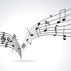 Music notes on staves. Vector music background.