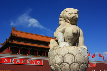 The Tiananmen and stone lion of china