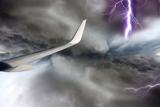 Airplane during stormy day