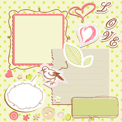 Set of elements for scrapbooking