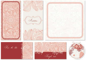 Wall Mural - Stylish floral cards