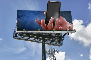 Double copy-space mobile telephony billboard