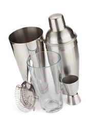 Cocktail shakers, strainer and jigger
