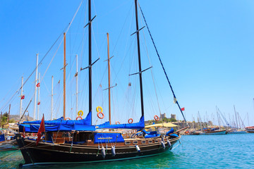 Bodrum castle and sailing boats, Turkey
