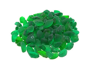Small pile green glass