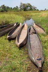 boat in Okavango Delta