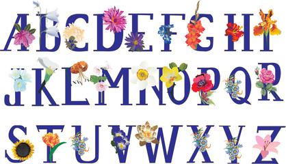 isolated flower alphabet