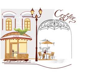Poster de jardin Drawn Street cafe Series of street cafe
