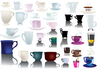 different isolated cups collection