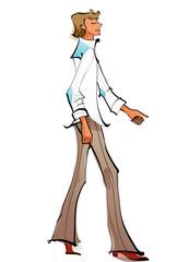 Side view of man walking