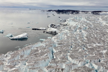 Aerial View of Glaciers (flowing into Arctic Ocean