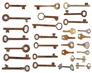 Collection antique and modern keys
