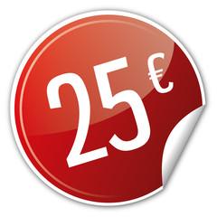 Button Rabatt - 25€ euro sparen reduziert rot