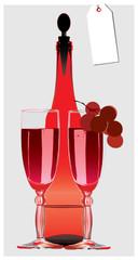 red-still-life-bottle-wineglass-grape-vine
