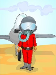 pilot cartoon infront of the jet plane