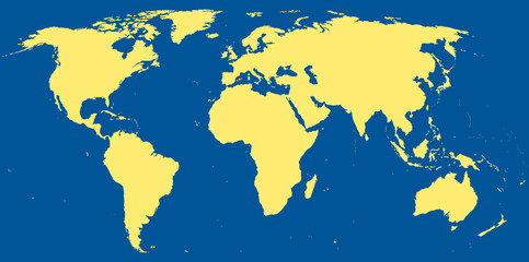 World map with continents in dark blue ocean.