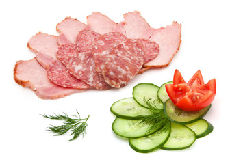 salami, ham and vegetables
