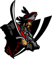 Pirate Mascot with Sword and Hat Graphic Illustration