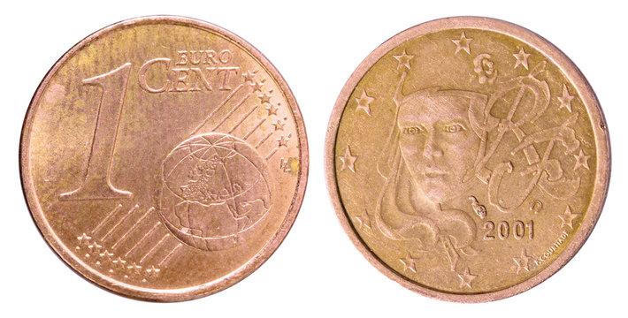 Pièce de 1 centime euro  pile et face
