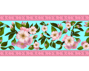Seamless border with apple-tree flowers
