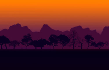 African Sunset Vector
