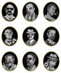 cartoon mafia icon set,label button.