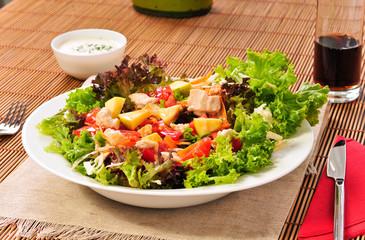 salad egg, olives, fish