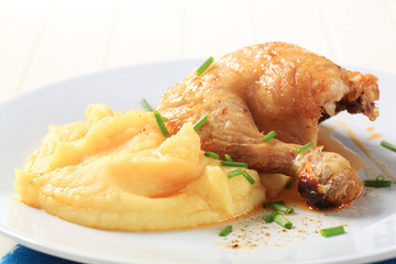 Roasted chicken and mashed potato