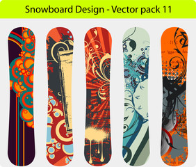 Snowboard design pack 11 - full editable vector Illustration