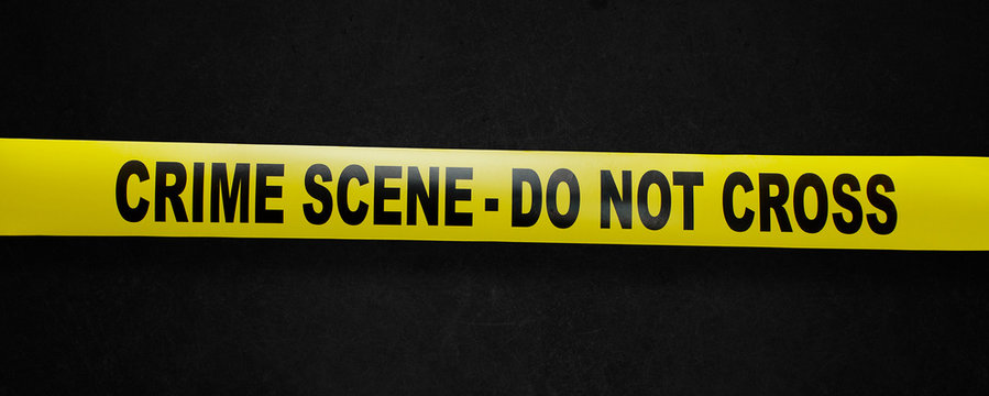 Crime scene yellow tape with clipping path