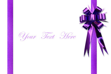 Purple ribbon bow on white space for message