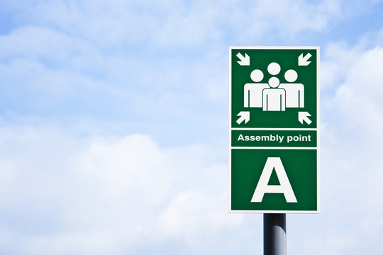 ' Assembly point' sign