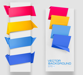 Set of colorful origami paper banners. Vector illustration.