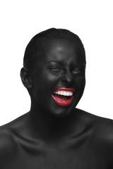Foto op Canvas Rood, zwart, wit black face