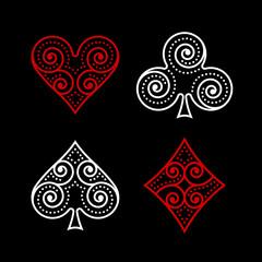 Vector Ornamental Poker Symbols
