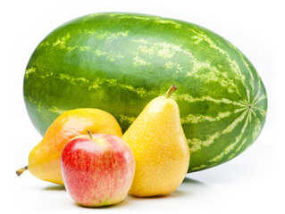 Watermelon, apple and pears isolated on white background.