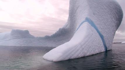 Fototapete - iceberg with huge blue streak in antarctica