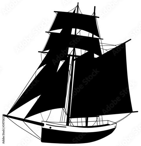 Segelboot zeichnung schwarz  Segelboot Segelschiff Silhouette Schiff Boot Schwarz