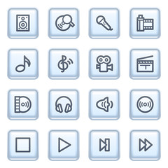 Audio video icons on blue buttons.