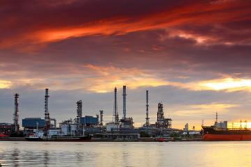 Oil refinery at twilight, Bangkok Thailand
