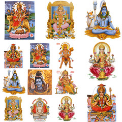 collection of hindu gods isolated on white