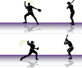 Baseball: player throws to batter
