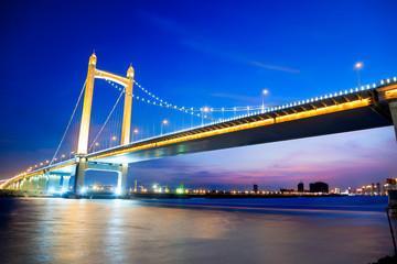 Suspension bridge at sunset