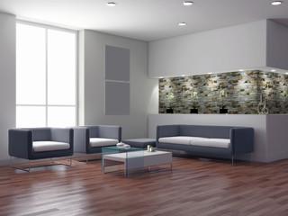 Interno con divani e finestra