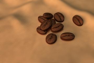 Kaffeebohnen auf Tuch