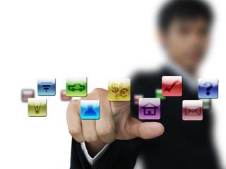 Business hand press money icon